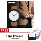 Beli Hot Sale Skmei 1196 Kasual Pria Jam Tangan Kulit Waterproof Desain Simple Fashion Quartz Watch Coklat Free Topi Warna