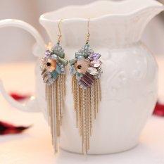 Hot Jual Bohemian Style Fashion Wanita Multicolor Kristal Bunga Emas Putih Rantai Logam Rumbai Panjang Drop Earrings-Intl