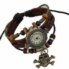 Hot Jual Fashion Pria Gaya Etnik Retro Kulit Watches (W01323)-Intl