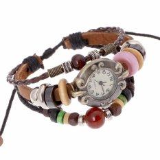Hot Jual Fashion Pria Gaya Etnik Retro Kulit Watches (W01334)-Intl