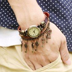 Hot Jual Fashion Pria Gaya Etnik Retro Kulit Watches (W01381)-Intl
