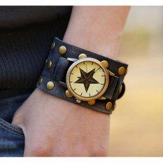 Hot Jual Fashion Pria Gaya Etnik Retro Kulit Watches (WB01421)-Intl