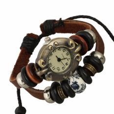 Hot Jual Fashion Wanita Gaya Etnik Retro Kulit Watches (W01307)-Intl