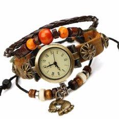 Hot Jual Fashion Wanita Gaya Etnik Retro Kulit Watches (W01346)-Intl