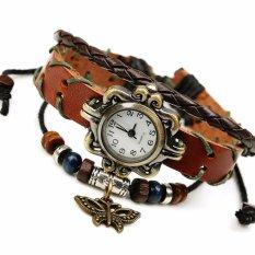 Hot Jual Fashion Wanita Gaya Etnik Retro Kulit Watches (W013468)-Intl