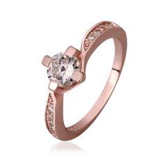 Hot Stylish Wanita 18 K Cincin Platinum Diamond Pernikahan Partai Golden Rose