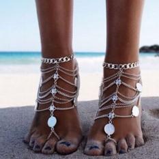 Musim Panas Antik Pergelangan Kesemek Gelang Sepanjang Ukiran Bunga Koin Gelang Kaki Bertelanjang Kaki Sandal Kaki Perhiasan Gelang Kaki Anda wanita BJ40051-Internasional