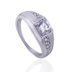 Hot Berlapis Emas Putih dengan Berlian Pernikahan Cincin 17mm-Intl