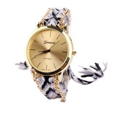 Panas Wanita Tombol Bulat WristwatchQuartz Jam Rantai Hitam + Putih