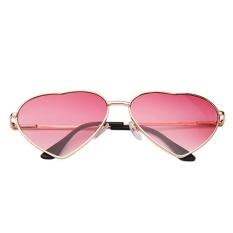 Hotspot Kepribadian Trend Metal LOVE Pria dan Wanita Sunglasses-Bingkai Emas Malu Merah-Intl