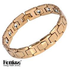 Hottime 15 Pcs 99.99% Tungsten Germanium Gelang & Magnetic Germanium Gelang Tidak Pernah Pudar IP Berlapis Emas Kesehatan Bio Energi Gelang Gelang Perhiasan Pria 10146-Intl
