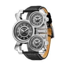 HP1167 Merek Mewah Pria Leather Band QUARTZ Jam Tangan Tiga Zona Waktu Pria Militer Army Jam Tangan-Internasional