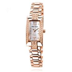 Huayang Royal Crown/Huang Jiang Bisnis Elegan Diamond Watches Jam Tangan Wanita Fashion Watch Retro Gold Strip (Rose GoldWhite)