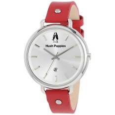 Hush Puppies HP.3802L.2509 - Analog - Jam Tangan Wanita - Bahan Tali Leather - Merah - Dial Silver