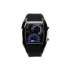 HZ4641 Unisex Blue Binary LED Light Dot Matrix Car Meter DialWaterproof Aviation Wrist Watch with Date /Week Black - intl