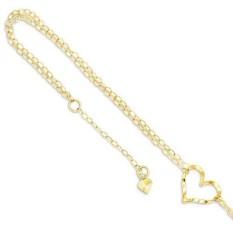 Es Karat 14 K Kuning Gold Ganda Helai Jantung 9 10 Dapat Disesuaikan Rantai Plus Extender Ukuran Gelang Kaki Pergelangan Kaki Gelang Pantai runcing Perhiasan Hadiah Hari Valentine Set untuk Wanita Hati-Internasional