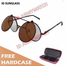 ID Sunglass - Kacamata Round Bulat Pria Wanita - Frame Coklat - Lensa Coklat SUN 1001-11