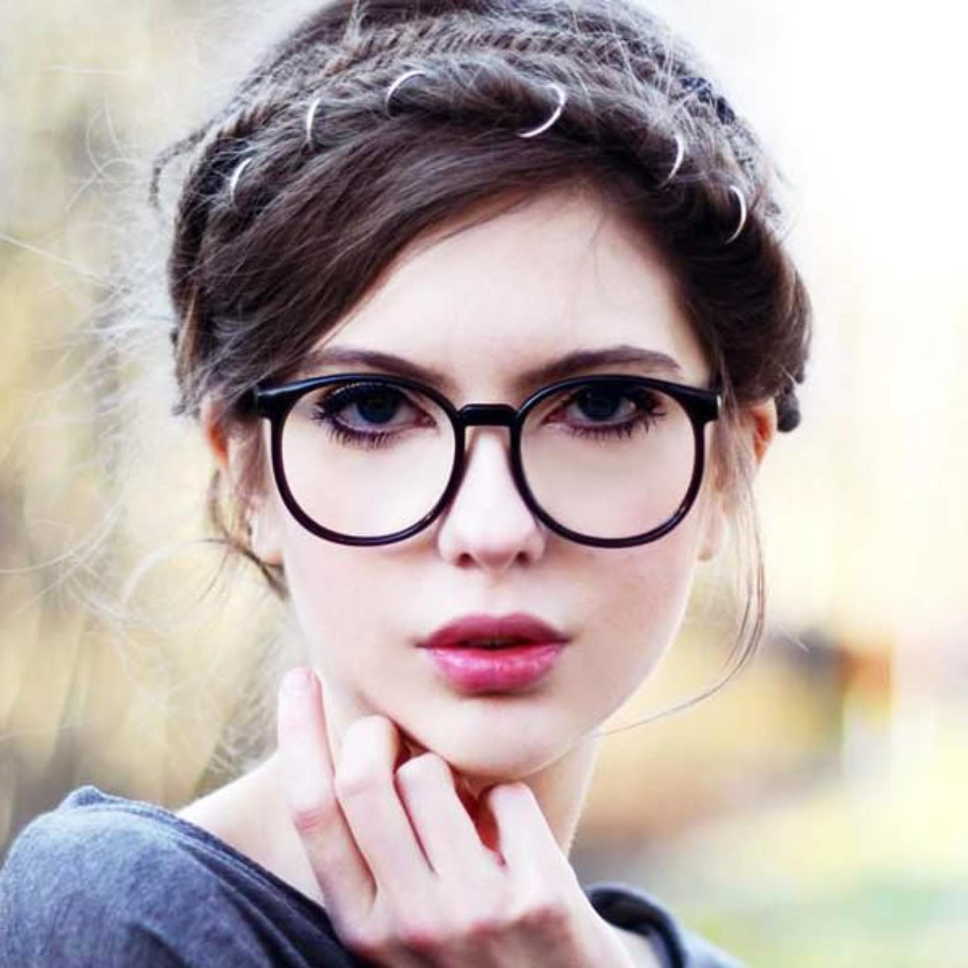 Indi Retro Round Clear Lens Fashion Glasses 14977 L - Kacamata Wanita