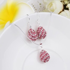 Perhiasan India Online Rhinestone Women Pesta Trendi Kalung Earrings SILVER DISEPUH Kalung/Anting-Anting Emas Disepuh Air Drop-Intl
