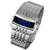 Review Toko Infantry Mens Biru Led Digital Electronic Sport Wrist Watch Silver Stainless Steel Band Intl Online