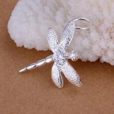 Bertatahkan Batu Dragonfly Liontin Sederhana Dragonfly Perak Liontin (Tanpa Rantai)-Internasional