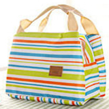 Review Toko Insulated Lunch Bag Canvas Stripe Thermal Bags Kids Baby Tote Picnic Lunchbox Green Intl
