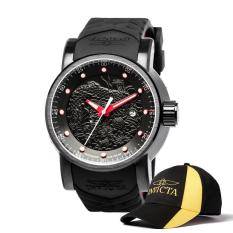 Invicta S1 Rally Men 48mm Case Black, Red Silicone Strap Black Dial Automatic Watch 18213 & Baseball Cap Hat