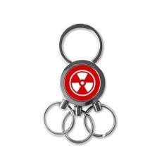 Ionisasi Radiasi Merah Persegi Bentuk Cermat Peringatan Melarang Menandai Ilustrasi Pola Logam Kunci Rantai Cincin Mobil Gantungan Kunci Creative Trinket Gantungan Kunci kebaruan Item Terbaik Pesona Hadiah-Internasional