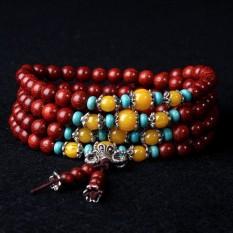 Merah Sepuluh Ribu Sumber Ortodoks India Tua untuk Mengantisipasi Daun Kecil dari Kayu Cendana Merah Tasbih Budha 108 Menambahkan Lebah Kuning Gelang Tasbih Budha Tangan Tali-Internasional