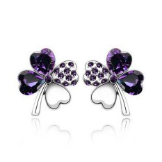 J028 Baru 4 Daun Four Leaf Clover Crystal Khusus Heart Love Stud Earrings Ungu Tua-Internasional