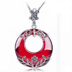 Jade Malaikat Thailand Silver dengan Garnet Cubic Zirconia Pendant Kalung Marcasite Vintage Perhiasan-Intl