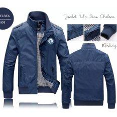 Jaket Biru Chelsea Ltd / Jaket Bola / Jaket Distro / Jaket Pria Cowok Murah Parasut Waterproof Moto