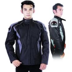 jaket motor pria murah jml 215 / jaket touring terbaru / jaket biker keren cowok hitam abu