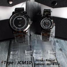 Jam Couple TERMURAH!!! Rantai Stainless Hitam Merk ALBA (JCM10)