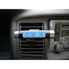 Jam Digital & Temperatur Mobil LCD Biru - Lazpedia