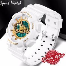 Jam Fashion pria model G olahraga jam tangan militer tahan air syok jam Digital Men (putih dan keemasan)