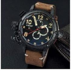 Jam otomatis U-boat chronograph  tanggal kulit elit