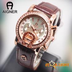Jam Tangan_Aigner Tali Kulit - Jam Tangan Wanita - Modis Dan Fashionable - Tanggal Aktif - Chrono Off - Casing Full Diamond Swarosky