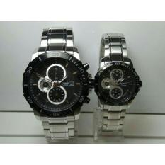 Jam Tangan Alexandre Christie AC 6473 Couple Chronograph Silver Black