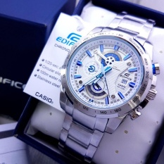 Harga Jam Tangan Casioo Edifice Efr 523D 1Avudf Chain Stainless Silver Dial White Combi Blue New