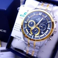 Jam Tangan Casioo Edifice EFR 537D - 1A2VUDF Chain Stainless SilverGold Dial Blue