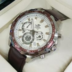 Jam Tangan Casioo Edifice EFR 554L - 1AV Chain Leather Brown Dial White