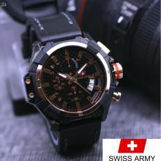 jam tangan casual pria SWISS ARMY original chrono aktif-leather strap
