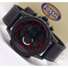 Jam tangan casual pria - tanggal aktif - alarm aktif - dual time - lampu - tali kulit - F..0..S..I..L