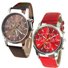 Beli Jam Tangan Couple Faux Leather Bracelet Wrist 638220 638218 Brown And Red Yang Bagus