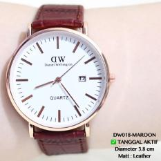 Jam Tangan Dw Daniel Wellington Tali Kulit Leather Tanggal Aktif Guess