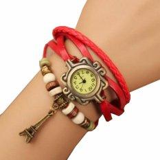 Jam Tangan Gelang Wanita Leather  Strap Leaf Style Women Watc - Merah