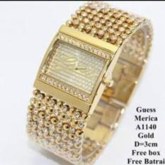 Jam Tangan Guess Merica Premium Kw Super Cewek Wanita. Gold
