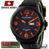 Review Jam Tangan Murah Pria Swiss Army Tali Kulit Black New Terbaru