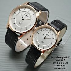 Jam Tangan Pasangan / Couple Murah Bomei Cerona Brown Ring Black
